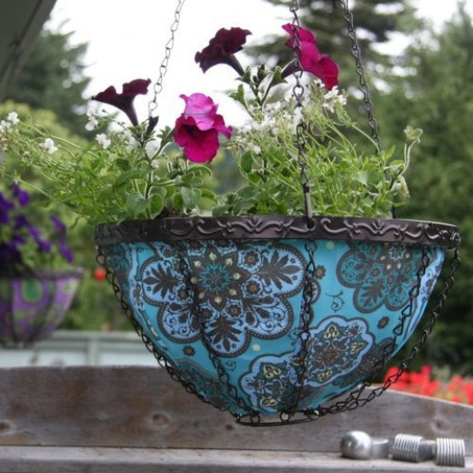 blue Toland hanging planter