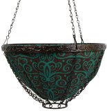 Toland Home Garden Damask 14-Inch 2-Gallon Decorative Insulated Hanging Art Planter Basket 202006