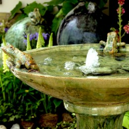 Cottage garden bird bath