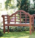 "Plow & Hearth Sir Edwin Lutyens English Garden Bench - Weather-Resistant Hardwood with Exterior Grade Outdoor Paint - 48""W x 24""D x 36½""H, in Natural"
